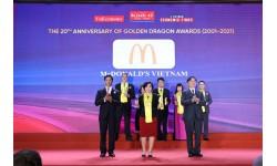 McDonald's nhận giải Rồng Vàng 2021 cho doanh nghiệp nổi bật trong ngành dịch vụ ăn uống